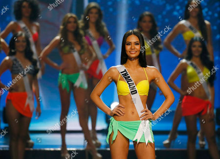 Chalita Suansane of Thailand poses shortly after making it to the top 9 in the Miss Universe 2016 coronation, at the Mall of Asia in suburban Pasay city, south of Manila, Philippines. Iris Mittenaere of France was proclaimed the new Miss Universe 2016