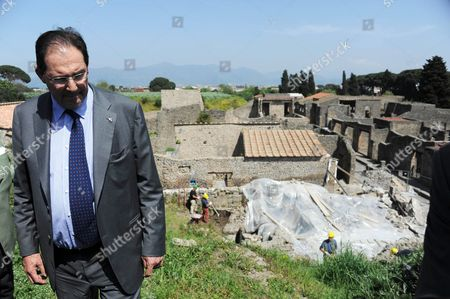 Italian Culture Minister Giancarlo Galan Visits the Archaeological Excavations Site of Pompeii Near Naples Italy 12 April 2011 Pompeii was Destroyed During the 79 Ad Eruption of Mount Vesuvius Italy Pompei
