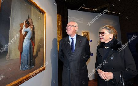 Prince Vittorio Emanuele (l) of Savoy Son of Italy's Last King and His Wife Marina Doria (r) Visit an Exhibition on Victor Emanuel Ii of Italy at the Palazzo Reale in Turin Italy 29 October 2010 Victor Emanuel Ii Became the First King of a United Italy in 1861 During the Couple's Visit a Group of Young Anarchists Held a Protest Outside the Palace Shouting Praise For Gaetano Bresci the Anarchist who Killed King Umberto i of Italy in July 1900 Italy Torino