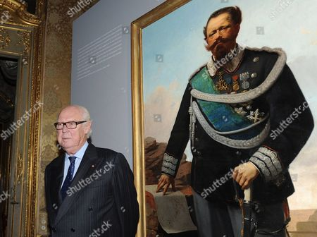 Prince Vittorio Emanuele of Savoy the Son of Italys Last King Standing in Front of a Portrait of Victor Emanuel Ii the First King of United Italy in 1861 at Palazzo Reale in Turin to Visit a Show on Victor Emanuel Ii the First King of United Italy in 1861 Italy 29 October 2010 Meanwhile a Group of Young Anarchists Held a Protest Outside the Palace Shouting Praise For Gaetano Bresci the Anarchist who Killed King Umberto i on July 1900 Italy Torino