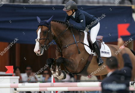 Stock Image of Italian Third Placed Jonella Ligresti During the 75th Equestrian Csio Contest in a Race Horse in Siena Square Rome Italy 27 May 2007 Italy Rome
