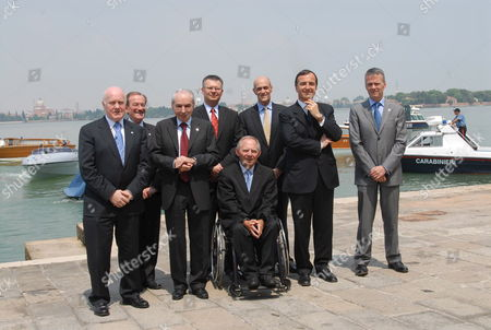 A Traditional Family Photo of the Delegates at the End of the G6 Interior Ministers' Meeting in Venice 12th May 2007 From Left: British Home Secretary John Reid French Police General Director Michel Gaudin Italian Interior Minister Giuliano Amato Poland Interior Minister Janusz Kaczarek Us Secretary For Internal Affairs Michael Chertoff Eu Vicepresident Franco Frattini Spanish Interior Minister Antonio Camacho and in Fore in a Wheelchair German Interior Minister Wolfgang Schaeuble ? Andrea Merola/ansa/pat Italy Venice