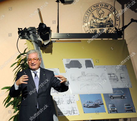 Italian Industrial Designer Giorgetto Giugiaro During the Ceremony For His Honorary Degree in Architecture From the Turin Polytechnic Dean Francesco Profumo (not Pictured) in Turin Italy on 11 November 2010 Italy Torino