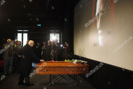 Stock Photo of Italian President Giorgio Napolitano Pays His Respects During Italian Director Mario Monicelli's Funeral in Monti Rome Italy 01 December 2010 Monicelli Committed Suicide on 29 November 2010 He was 95 Years Old Italy Rome