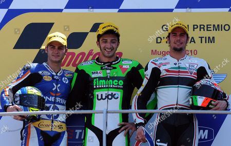 Winner Speed Up Moto2 Rider Andrea Lannone (c) of Italy Poses on the Podium with Second Placed Pons Kalex Rider Sergio Gadea (l) of Spain and Third Placed Motobi Rider Simone Corsi of Italy During the Italian Motorcycling Grand Prix at the Mugello Circuit in Central Italy 06 June 2010 Italy Scarperia