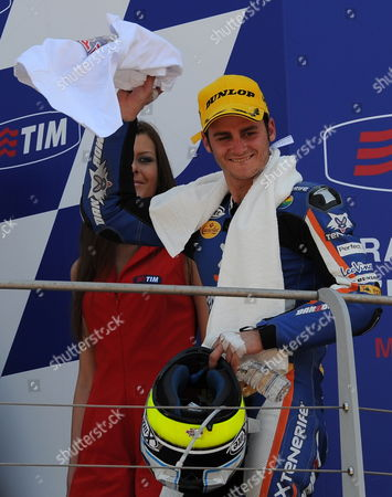 Second Placed Pons Kalex Rider Sergio Gadea (l) of Spain Pose on the Podium During the Italian Motorcycling Grand Prix at the Mugello Circuit in Central Italy 06 June 2010 Italy Scarperia