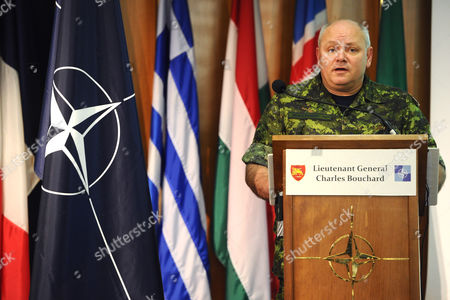 Canadian Lieutenant General Charles Bouchard Chief of the Nato Operation ''unified Protector'' in Libya During His Press Conference in Naples Italy on 28 March 2011 Bouchard who Will Be Leading the Forces Involved in the Mission was Meeting with the Press at the Nato Base in Naples Italy Naples