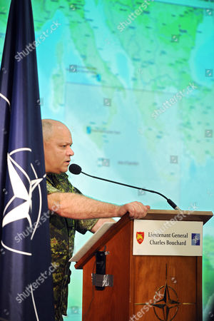 General Charles Bouchard Head of the Nato Operation 'Unified Protector' in Libya During His Press Conference March 28 2011 at Bagnoli Nato Base in Naples where He Said Nato Planes Started Enforcing a No-fly Zone Over Libya 27 March Italy Naples