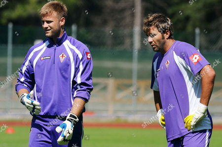 New Polish Goalkeeper of Ac Fiorentina Artur Boruc (l) Stands on the Field Next to French Goalkeeper Sebastien Frey During a Training Session After His Presentation in Florence Italy on 19 July 2010 Italy Florence