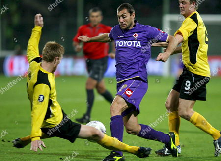 Stock Picture of Fiorentina Striker Cristian Vieri (c) Takes on the Elfsborg Defence During Their Uefa Cup Match 08 November 2007 in Florence Italy Italy Florence