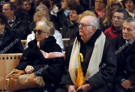 Italian Playwright and Nobel Laureate Dario Fo (r) and His Wife Franca Rame (l) Attend the Funeral of Giuseppe Demasi the Latest Victim of the December Accident at Thyssenkrupp's Mill During His Funeral at the Church of the Holy Face in Turin Italy 03 January 2007 Demasi is the Seventh Steelworker who Died on 30 December at a Hospital in Turin Italy From Serious Burns Sustained in a Fire at German Steelmaker Thyssenkrupp's Mill in Northern Italy on 06 December Italy Torino