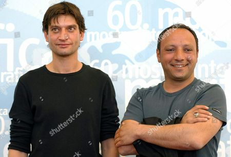 Kurdish Director Hiner Saleem (r) with His Actor Yvan Franek After the Press Conference to Promote the Movie 'Vodka Lemon' Presented 5 September 2003 at the Venice Film Festival Epa Photo/ansa/claudio Onorati// Italy Venice