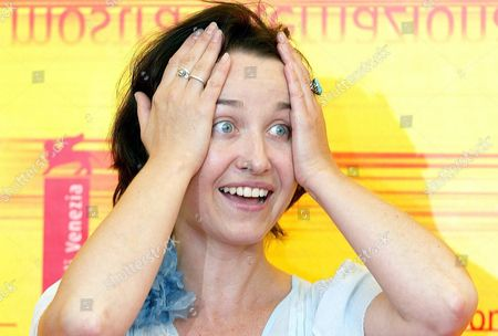 Actress Gabriela Muskala Grimaces at the End of a Press Conference Held on Monday 06 September 2004 to Present the Film 'All Winter Without Fire' by Swiss Poland-born Movie Director Greg Zglinski Which Will Be Screened Later Today in Competition at the 61st International Exhibition of Cinema Art Better Known As Venice Film Festival Italy Venice