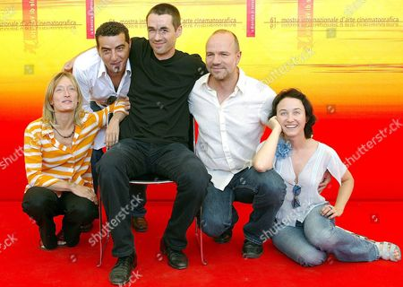 Swiss Poland-born Movie Director Greg Zglinsk (c) Sits Between Actors (from L-r) Marie Matheron Blerim Gjoci Aurelien Recoing and Gabriela Muskala at the End of a Press Conference Held on Monday 06 September 2004 to Present the Film 'All Winter Without Fire' Which Will Be Screened Later Today in Competition at the 61st International Exhibition of Cinema Art Better Known As Venice Film Festival Italy Venice