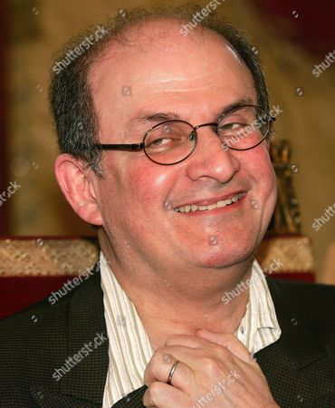 Indian Born Novelist Salman Rushdie at the Press Conference in Campidoglio in Rome on Monday 23 May 2005 During the Presentation of the 4th Edition of the Letterature Festival International in Rome That Starts Tomorrow 24 May at the Massenzio Basilic Others Guests Are Antonio Skarmeta Andrej Makine David Leavitt Ali Smith Hitomi Kanehara Natasha Rajdoicic Amitav Ghosh and Amos Oz Italy Rome