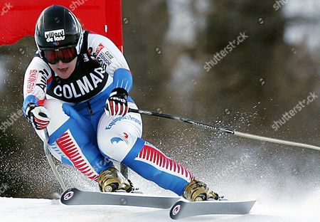 France' S Carole Montillet-carles in Action to Place Third in the Rescheduled Women's World Cup Downhill Race on Friday 07 January 2004 France' S Ingrid Jacquemond Won the Race Austria' S Renate Goetschl was Placed Second Italy Santa Caterina