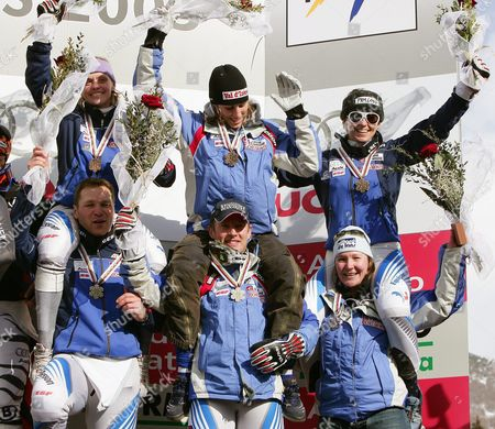 The French Team Cheers on the Podium After Winning Bronze in the Nations Team Event at the Alpine Skiing World Championships in Bormio Sunday 13 February 2005 Germany Won Ahead of Austria and France Bottom From Left - Jean-pierre Vidal Pierrick Bourgeat Carole Montillet-carles Top From Left - Laure Pequegnot Ingrid Jacquemod Pascal Christel Italy Bormio