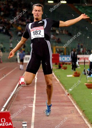 Tommi Evila From Finland Competes in the Mens Long Jump During the Golden League Gala Athletic Meeting at the Olympic Stadium in Rome Friday 08 July 2005 Tero Pitkamaki Finished with a Jump of 7 97 Metres Italy Rome