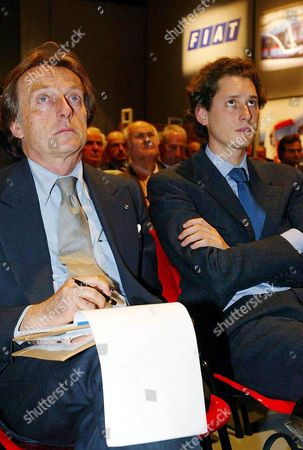 Honorary Fiat President Giovanni Agnelli' S Nephew John Elkann (r) and the Employers Association Confindustria President Luca Cordero Di Montezemolo Attend the Yearly General Shareholders' Meeting in Turin 11 May 2004 the Meeting was Due to Improve the Country's Largest Auto -maker Problems After the Three-week Strike at Fiat Plant in Southern Melfi Which Has Crippled Production Italy Turin