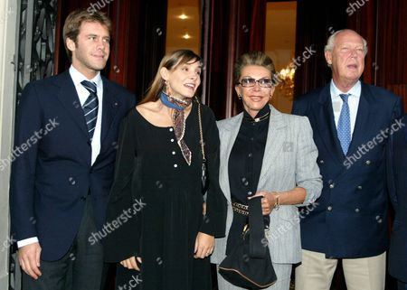 (from Left) Emanuele Filiberto of Savoy with His Newly Bride Clotilde Courau His Mother Marina Doria and His Father the Prince Vittorio Emanuele Arriving in Florence on Sunday 28 September 2003 Epa Photo/ansa/marco Bucco// Italy Florence