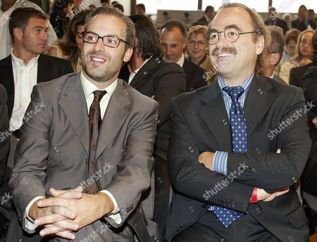 Portuguese Designer Pedro Albuquerque (l) Sitting Next to Italian Film Director and Actor Maurizio Nichetti (r) During the Presentation to the Media of His Creations: Neve and Gliz the Two Mascots of the Turin 2006 Winter Olympic Games in Rome Italy on Tuesday 28 September 2004 Italy Rome