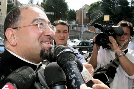 Don Luigi Abid Sid the 'Spiritual Assistent' of Prince Vittorio Emanuele Di Savoia the 69-year-old Son of Italy's Last King Talks to Journalists Outside the Prison where the Prince is Held in Potenza Italy Wednesday 22 June 2006 Prince Vittorio Emanuele Di Savoia was Arrested on Friday 16 June 2006 As Part of a Two-year Investigation Into Corruption and Prostitution Italy Potenza