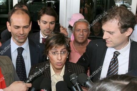 Giulia Bongiorno the Lawyer of Prince Vittorio Emanuele Di Savoia the 69-year-old Son of Italy's Last King Talks to Journalists Outside the Prison where the Prince is Held in Potenza Italy Wednesday 22 June 2006 Prince Vittorio Emanuele Di Savoia was Arrested on Friday 16 June 2006 As Part of a Two-year Investigation Into Corruption and Prostitution Italy Potenza