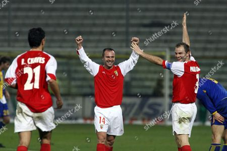 Ricardo Chaves (l) Castanheira (c) and Paulo Joerge (r) of Sporting Braga Jubilate After Scoring a Goal Against Parma During Their Uefa Cup Soccer Match at 'Tardini' Stadium in Parma Italy on 22 February 2007 Italy Parma