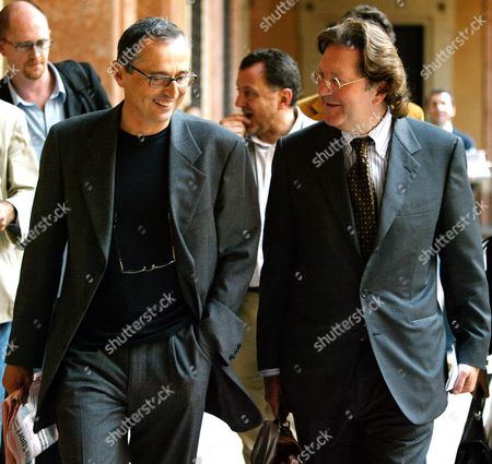 Sport Training Doctor Michele Ferrari (l) Walking with His Lawyer Dario Bolognesi in Bologna Northern Italy Friday 01 October 2004 Doctor Ferrari who Acted As Cyclist Lance Armstrong's Doctor was Sentenced For Sports Fraud and Illegal Practice of Chemist Profession He was Sentenced to One Year of Deffered Jail and to a Fine of 900 Euros Italy Bologna