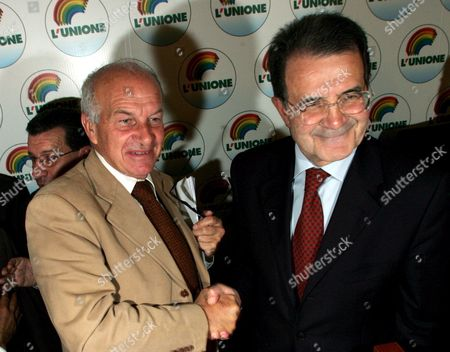 The Winner Former European Commission President Romano Prodi (r) and 'Second Placed' Leader of the Communist Refoundation Party Fausto Bertinotti Shake Hands During a Press Conference on the Results of the 'L'unione' Oppositiion Coalitions Primary Elections in Rome Monday 17 October 2005 to Select a Candidate For Premier in Next Years Election Organizers Were Expecting at Least One Million People to Cast Their Ballots at 9 651 Voting Booths Set Across the Country But Some 4 3 Million People Casted Their Vote Prodi was First with 3 182 686 Votes (74 1 Percent) Ahead of Fausto Bertinotti (communist Refoundation) 14 7 Percent; Clemente Mastella (catholic Udeur) 4 6 Percent; Antonio Di Pietro (former Judge of 'Clean Hands') 3 3 Percent; Alfonso Pecoraro Scanio (green) 2 2 Percent; Ivan Scalfarotto (independent) 0 6 Percent; Simona Panzino (far-leftist No-global) 0 5 Percent Italy Rome