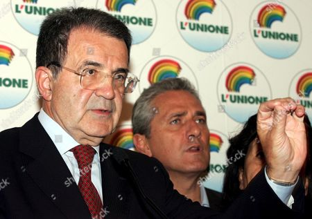 Former European Commission President Romano Prodi (l) Flanked by Francesco Rutelli Addresses Journalists During a Press Conference on the Results of the 'L'unione' Oppositiion Coalitions Primary Elections in Rome Monday 17 October 2005 to Select a Candidate For Premier in Next Years General Elections Organizers Were Expecting at Least One Million People to Cast Their Ballots at 9 651 Voting Booths Set Across the Country But Some 4 3 Million People Casted Their Vote Prodi was First with 3 182 686 Votes (74 1 Percent) Ahead of Fausto Bertinotti (communist Refoundation) 14 7 Percent; Clemente Mastella (catholic Udeur) 4 6 Percent; Antonio Di Pietro (former Judge of 'Clean Hands') 3 3 Percent; Alfonso Pecoraro Scanio (green) 2 2 Percent; Ivan Scalfarotto (independent) 0 6 Percent; Simona Panzino (far-leftist No-global) 0 5 Percent Italy Rome