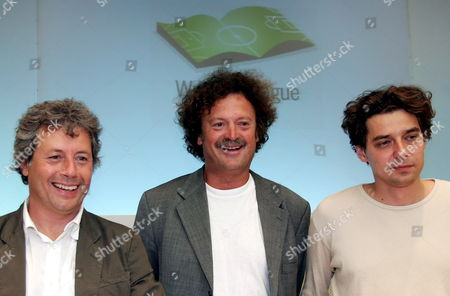 (from L-r) Captains of Writers National Teams of Italy Alessandro Baricco of Sweden Fredrik Ekelund and of Hungar Y Peter Zilahy Pose For a Photo on Wednesday 14 September 2005 During the Presentation of the First Writers' League a Four-sided Match Between Soccer Literature and Cinema Which Will Be Attended Also by a Germany Representative the First Championship of European Writers Will Be Held From 29 September to 02 October in the Charming Atmosphere of San Casciano Bagni in the Unesco's Heritage Val D'orcia (south of Tuscany's Province of Siena) i Italy Milan