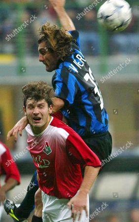 Inter Milan's Cristian Vieri (top) Collides with Lokomotiv Moscow's Dmitry Sennikov (l) During Their Champions League Qualifing Match in Milan 05 November 2003 Italy Milan
