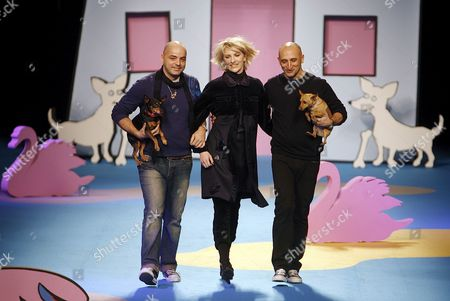 Mickey Summer (c) Daughter of Singer and Former Frontman of Police Gordon Summer Sting is Accompanied by Designers Maurizio Modica (r) and Pierfrancesco Gigliotti As She Wears a Proposal by Italian Fashion House Frankie Morello on Wednesday 21 February 2007 Within Milan's Women Autumn-winter 2007-2008 Fashion Week Italy Milan
