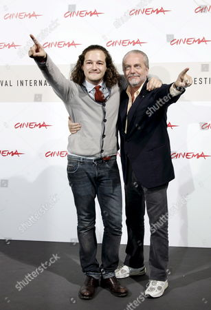 Italian Debutant Movie Director Brando De Sica (l) and Producer Aurelio De Laurentiis During the Photocall of His Film 'Parlami Di Me' (speak Me About Me) in Competition at the 3rd Rome Film Festival on 24 October 2008 a Resounding Solo by Christian De Sica in the Form of a Musical in a Stage Show That Brings Together Memories and Family Nostalgia Tracks by Garinei and Giovannini Personal and Autobiographical Monologues Also Touching on the History of the Variety Show Tributes to Great Cinema and Italian Showbiz the Spectacle is Written by Maurizio Costanzo and Enrico Vaime While the Film is Directed by Christian's Son Brando Making His Debut Behind the Camera Italy Roma