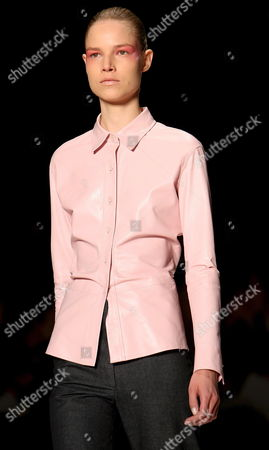 Stock Picture of Finnish Model Suvi Koponen Takes to the Catwalk Wearing a Creation From Max Mara's Women Collection During the Milan Fashion Week Spring/summer 2008 in Milan Italy on 27 September 2007 Italy Milan