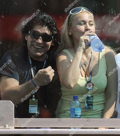 Argetinian Soccer Player Diego Armando Maradona (l) and His Companion Veronica Ojeda Watch the San Marino Motogp Race in Misano Adriatico Italy on 31 August 2008 Italy Misano Adriatico