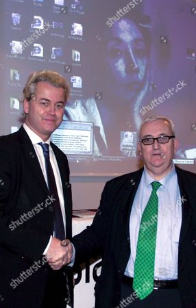 Dutch Politician Geert Wilders (l) Shakes Hands with Italian Member of the European Parliament Mario Borghezio During Their Meeting in Rome Italy on 19 February 2009 Wilders Received the Oriana Fallaci Award Italy Rome