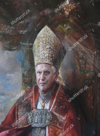 Stock Picture of The Portrait Painting of Pope Benedict Xvi by Russian Painter Natalia Tsarkova Rome 15 April 2007 the Painting was Ordered by the Vatican Due the Pope's Birthday on 16 April 2007 Italy Rome