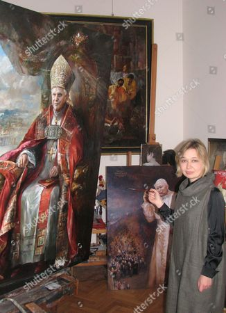 Editorial photo of Italy Pope Painting - Apr 2007