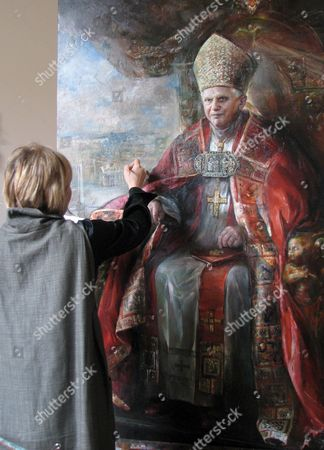 Stock Photo of Russian Painter Natalia Tsarkova Makes the Last Additional Touches to the Portrait of Pope Benedict Xvi Rome 15 April 2007 the Painting was Ordered by the Vatican Due the Pope's Birthday on 16 April 2007 Italy Rome