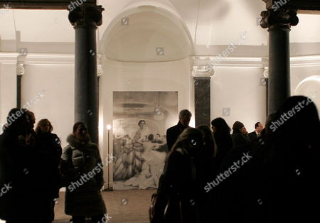 Visitors Attend the Inauguration of an Exhibition of Unpublished Photographs by Richard Avedon Depicting the Post-war Us Model Ann Theophane Graham Known As Theo in Rome's Villa Medici Late 31 January 2009 Within the Alta Roma Fashion Event Italy Rome