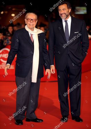 Rome Film Festival President Gian Luigi Rondi (l) Poses For Photographers with Luca Barbareschi (r) on the Red Carpet Prior to the Screening of Us Director and Actor Al Pacino's Film 'Chinese Coffee' at the 'Parco Della Musica' Auditorium on the Opening of the 3rd Rome Film Festival in Rome Italy 22 October 2008 the Festival Runs From 22 to 31 October 2008 Italy Rome