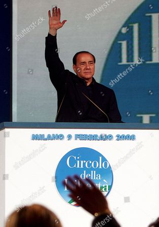 Italian Silvio Berlusconi During His Speech at the Meeting with the President of the 'Circoli Della Liberta' Michela Vittoria Brambilla in Milan Italy on 09 February 2008 Berlusconi Called on Italy's Centre-right Parties to Run Under a Single Banner in April 2008 Election Italy Milan