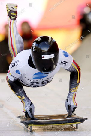 Germany's Michi Halilovic in Action to Place Third in the Skeleton World Cup Race in Cesana Piemonte Region Northern Italy on Friday 09 Febrary 2007 Italy Cesana