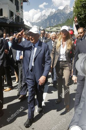 Italian President Giorgio Napolitano (l) and Italian Environment Minister Stefania Prestigiacomo (r) Visit in Auronzo Di Cadore Nothern Italy on 25 August 2009 For the Celebration of the Appointement of the Dolomite Mountain Range As Unesco Heritage the Dolomites Are Part of the Eastern Alps and Are Striking Because of Their Unique Pale Dolomite Rock Italy Auronzo Di Cadore (belluno)