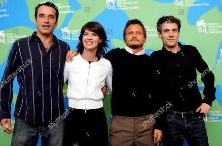 Italian Director Paolo Franchi (2-r) Italian Actor Bruno Todeschini (l) French Actress Irene Jacob (2-l) and Italian Actor Elio Germano (r) After the Presentation of the Movie 'Nessuna Qualita Agli Eroi' ('hero Without Any Qualities') Which is in Concourse For the Venice Film Festival in Venice Italy 31 August 2007 Italy Venice