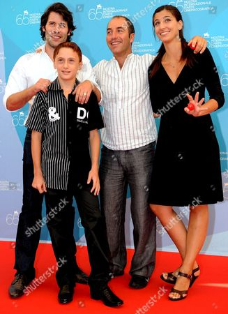 (l-r) Actors Jalil Lespert Robert Valeanu Filmmaker Marco Pontecorvo and Evita Ciri Pose For a Photo During the Photo-call at the End of the Press Conference of the Film: 'Pa-ra-dal' Presented at 65th Venice International Film Festival in Venice Italy 28 August 2008 Italy Venice