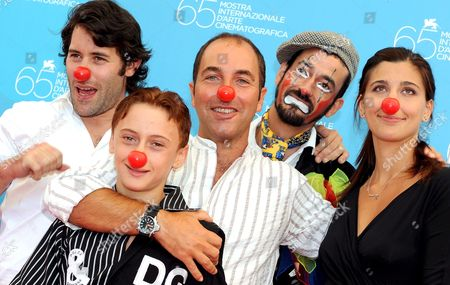 (l-r) Actors Jalil Lespert Robert Valeanu Film Director Marco Pontecorvo Actors Miloud Oukili and Evita Ciri Pose For a Photo During the Photo-call at the End of the Press Conference of the Film: 'Pa-ra-dal' Presented at 65th Venice International Film Festival in Venice Italy 28 August 2008 Italy Venice