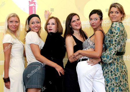 (l-r) Gabriela Hegedus Nina Proll Birgit Minichmayr Barbara Albert Ursula Straus and Katrin Resetarits Pose For a Photo During a Press Conference to Promote the Movie 'Fallen' at the Venice Film Festival Monday 04 September 2006 Italy Venice
